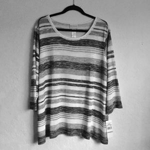 Pullover Striped Scoop Neck Sweater Size 3X